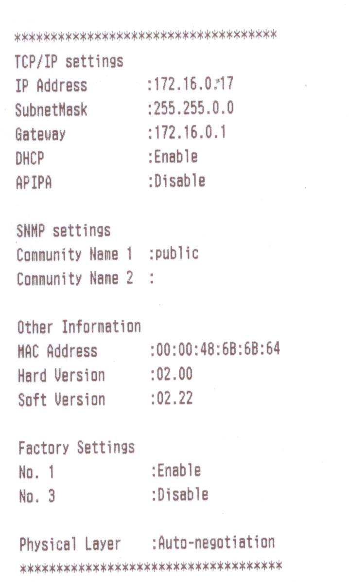 Ticket de configuration réseau Epson